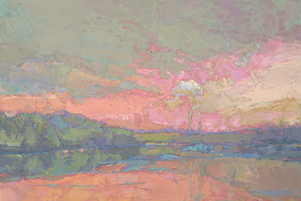 contemporary oil painting of Mississippi River - northern Minnesota Cohassett power plant