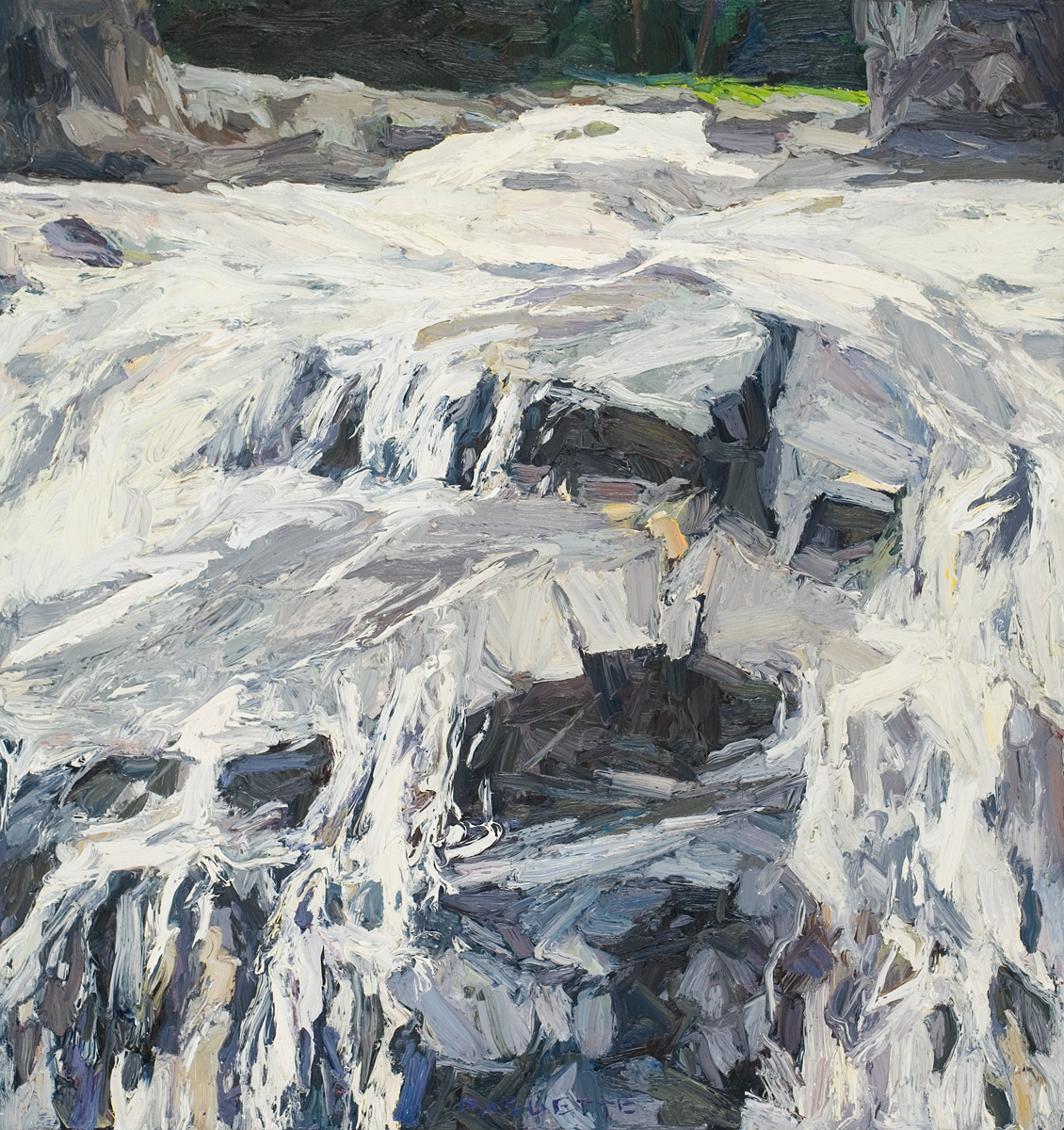 contemporary landscape oil painting of falls near Lake Superior