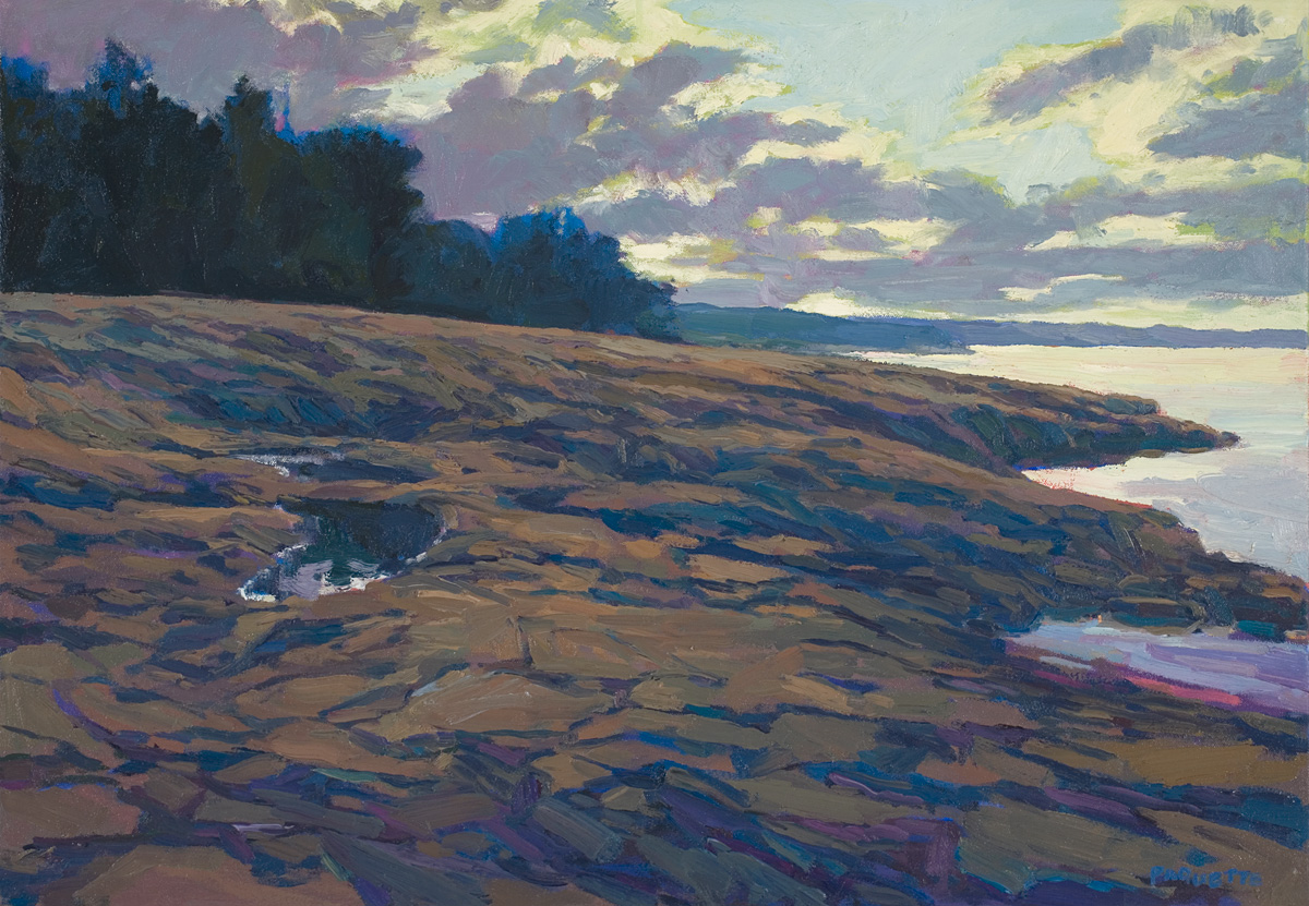 contemporary landscape oil painting of Lake Superior