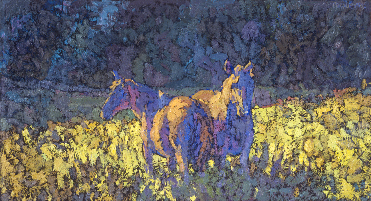 contemporary landscape oil painting of two horses in a field