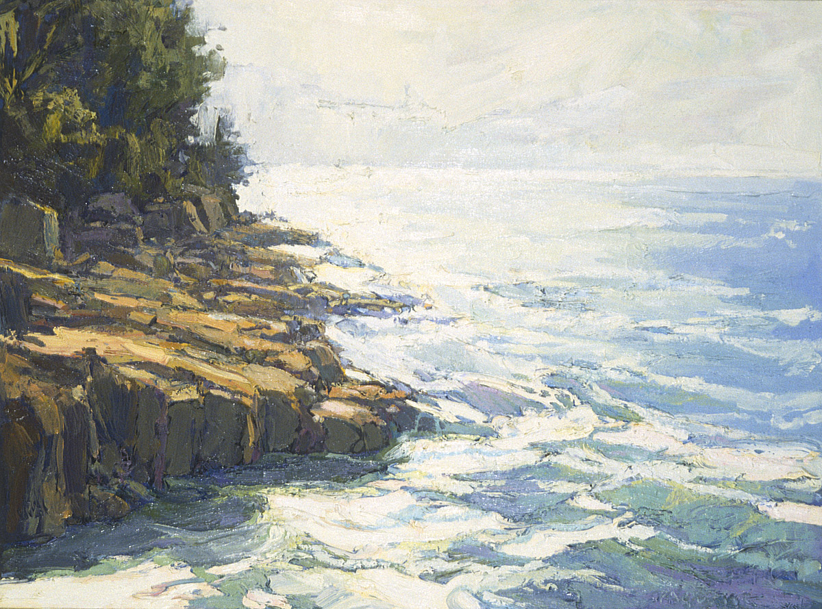 contemporary landscape oil painting of rocky shoreline