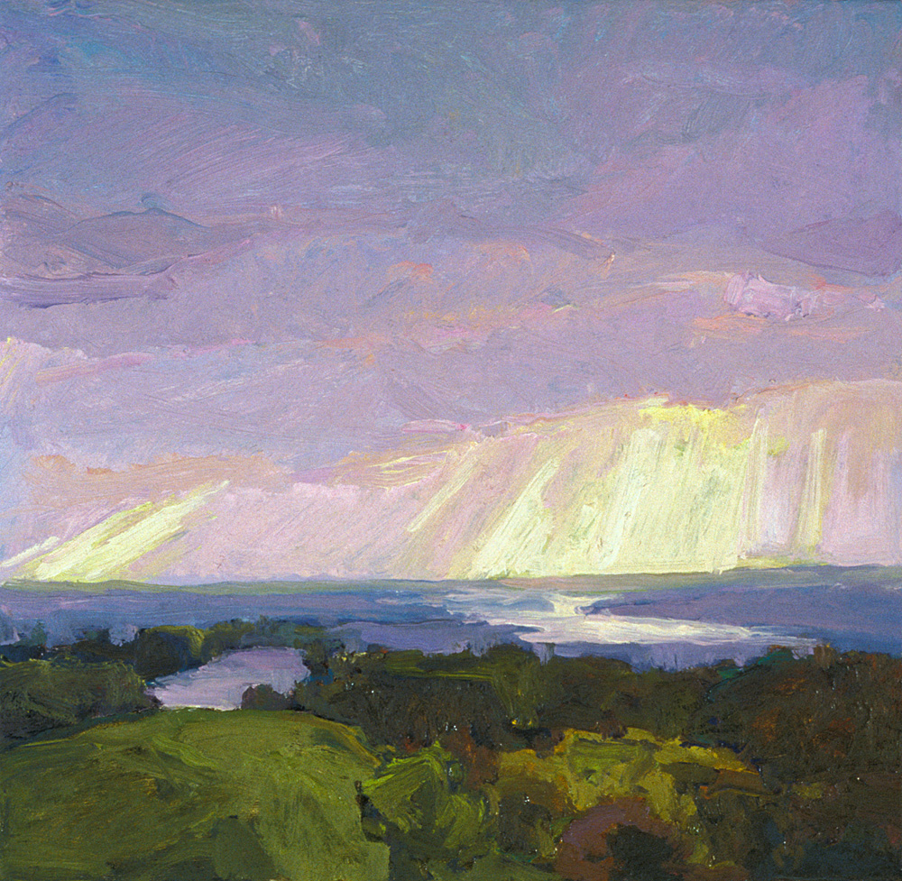 contemporary landscape oil painting of Hudson River from Olana
