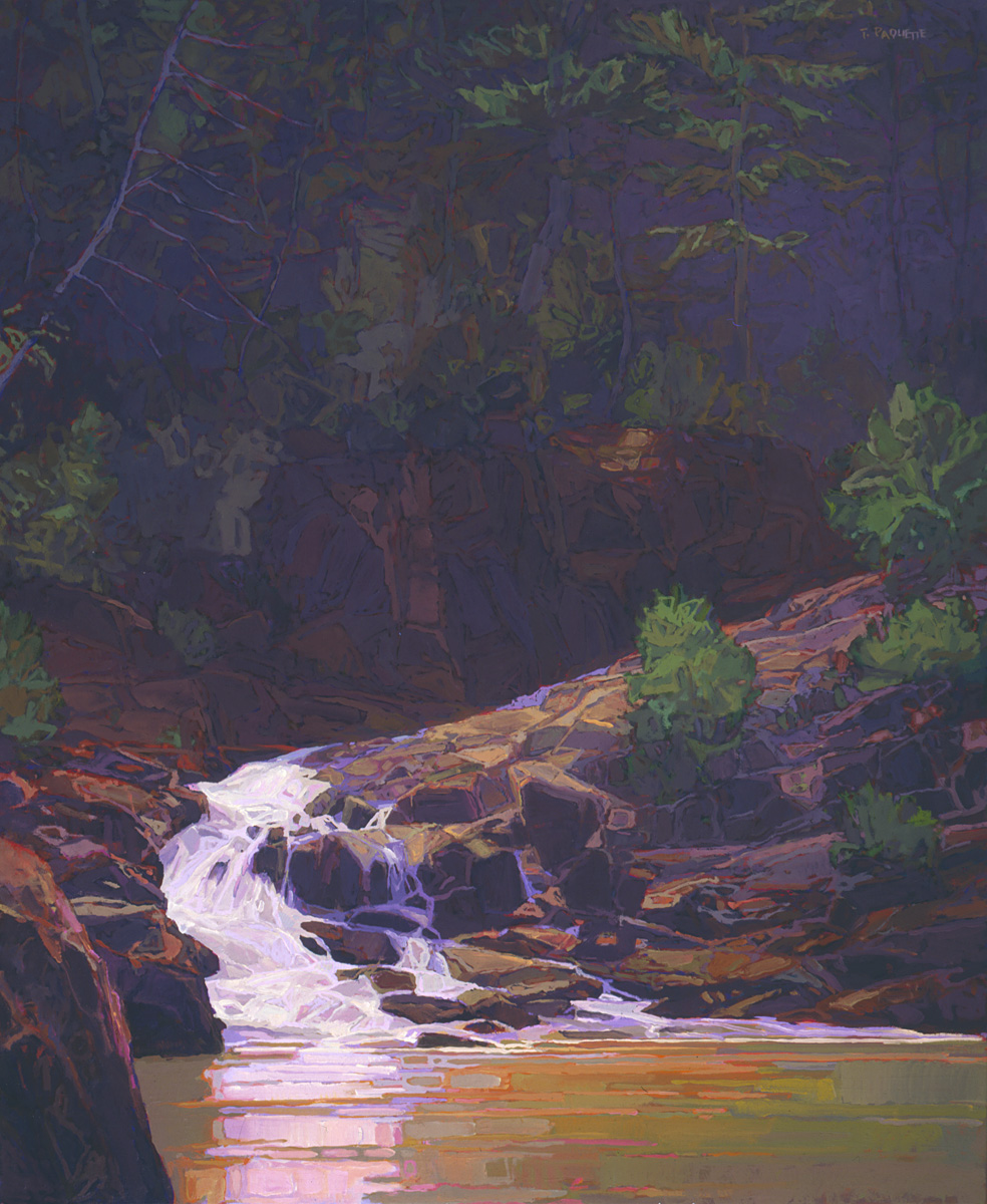 large contemporary landscape oil painting of a waterfall