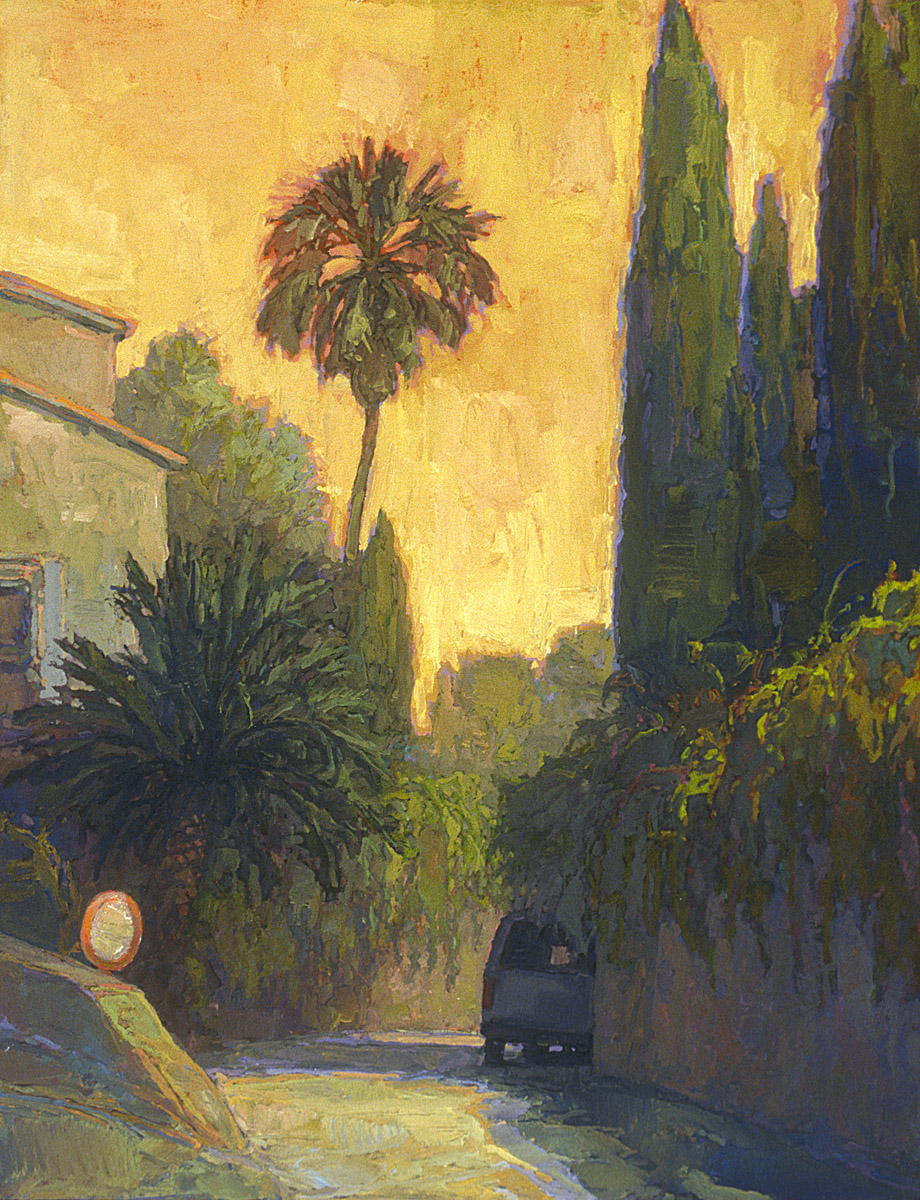 contemporary streetscape oil painting of Mediterranean hilltown