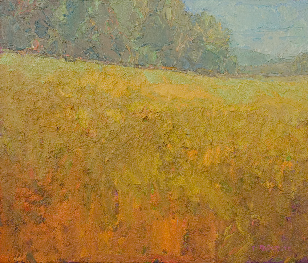 contemporary landscape oil painting of field in summer