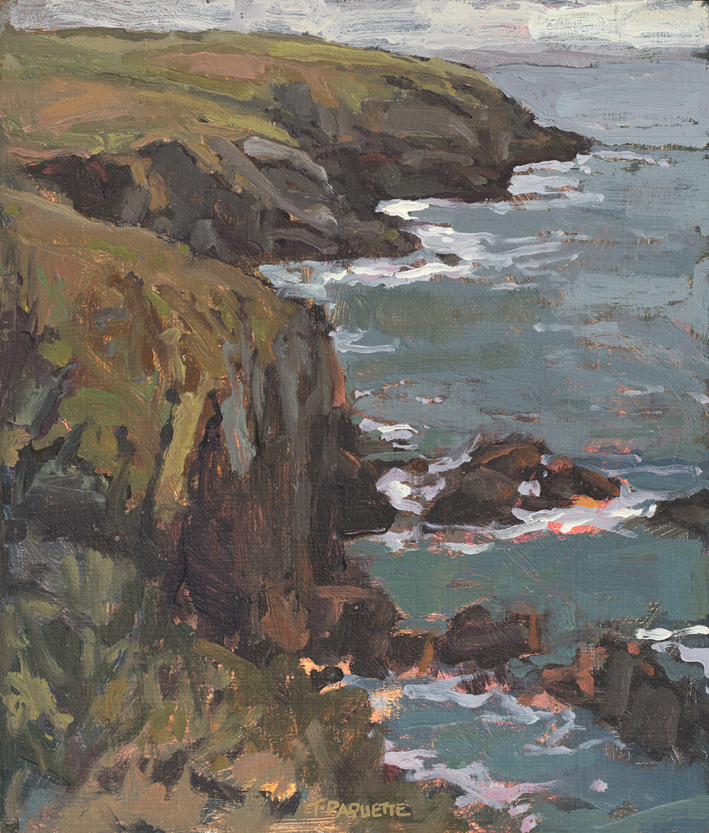 contemporary landscape oil painting of cliff at St Davids, Wales