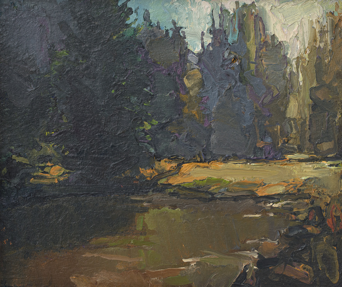 contemporary landscape oil painting of Tuolumne River flats, Yosemite National Park