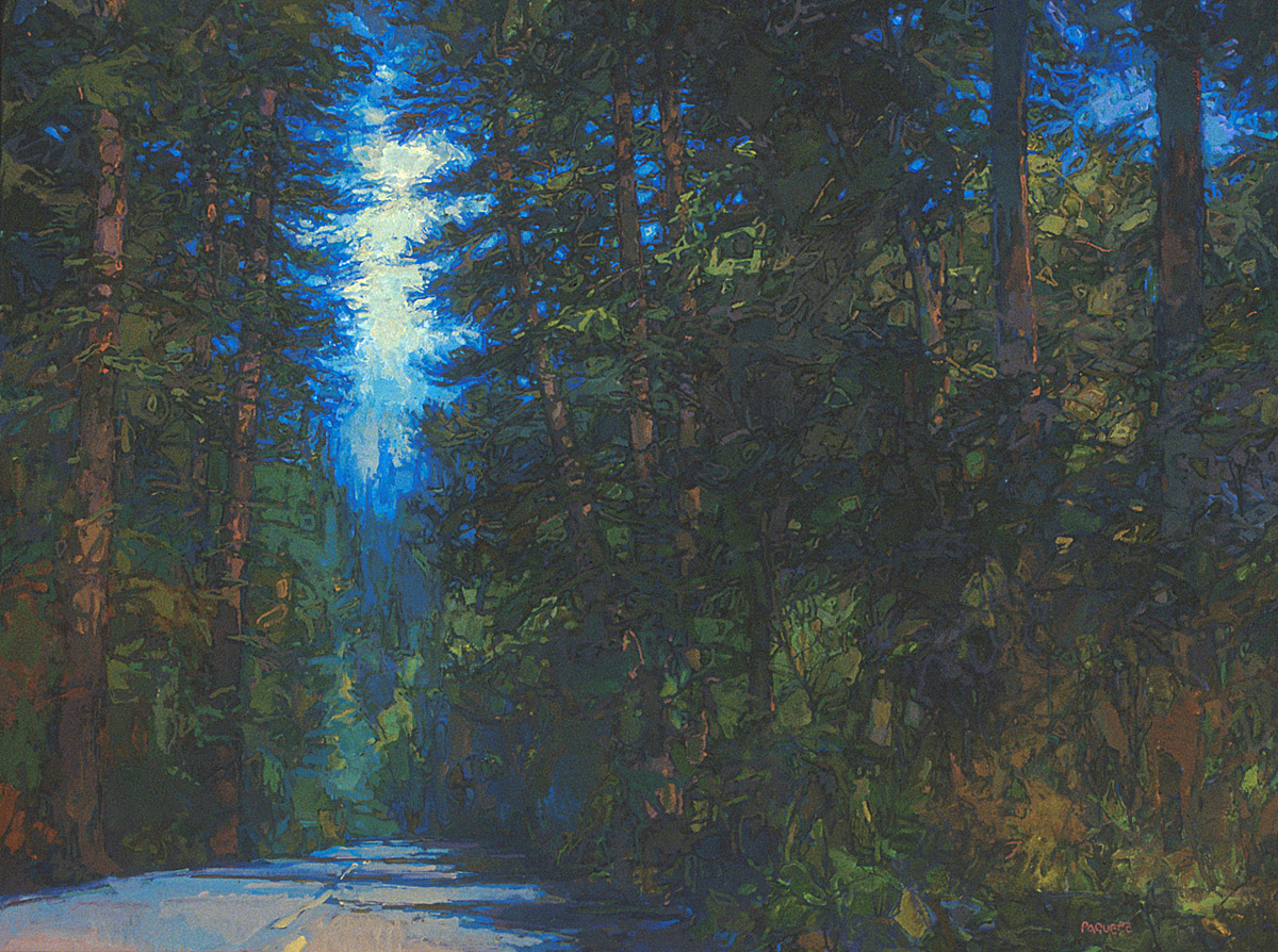 contemporary landscape oil painting of road through a dense forest