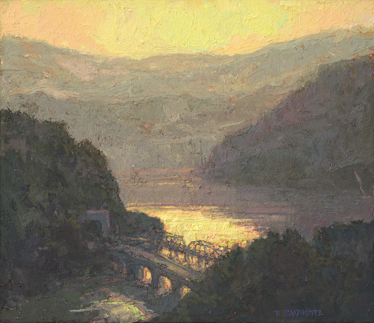 contemporary landscape oil painting of Harpers Ferry at sunrise