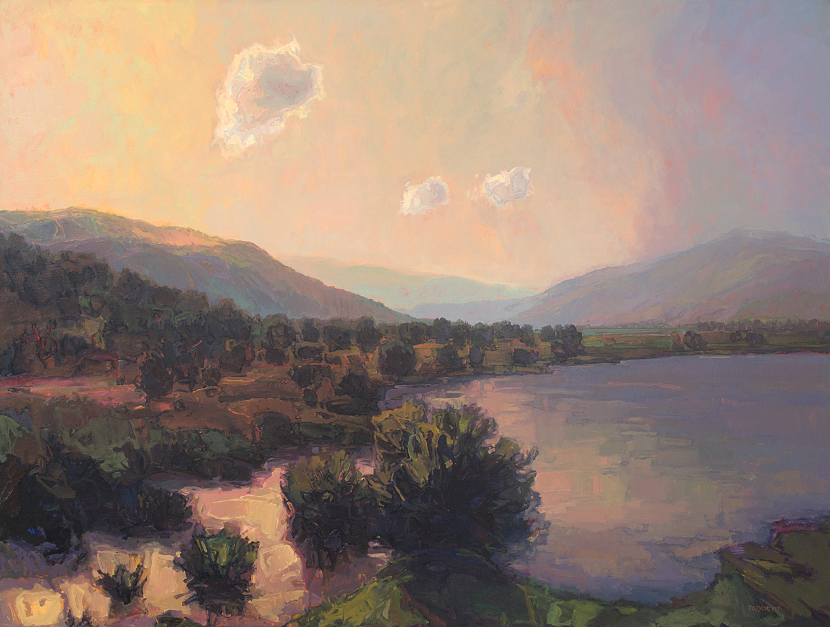 contemporary landscape oil painting of Kalloni bay, Lesvos, Greece