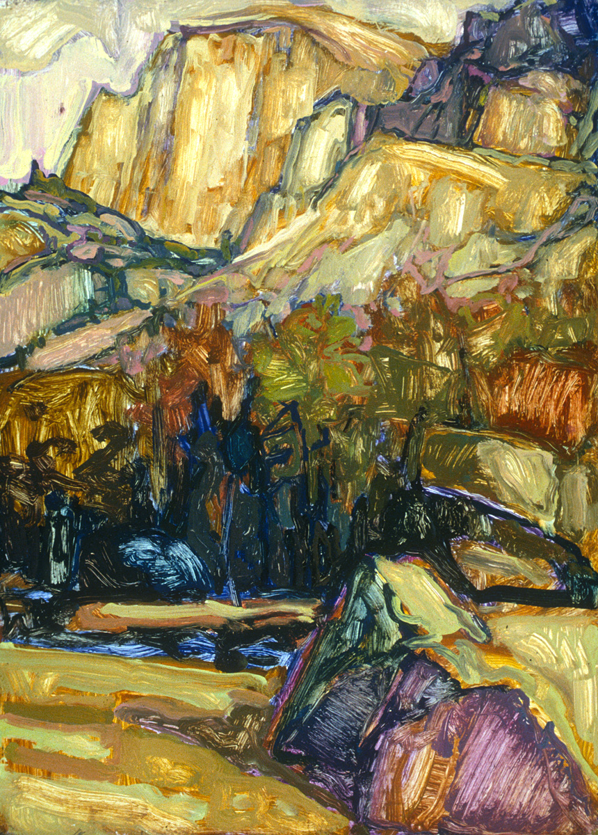 contemporary landscape oil painting of Halfdome, Yosemite