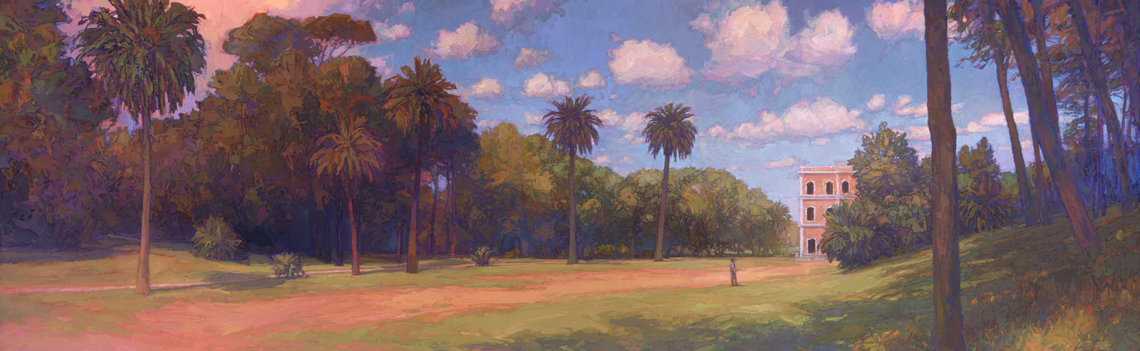 large contemporary landscape oil painting of Pamphili Garden, Rome