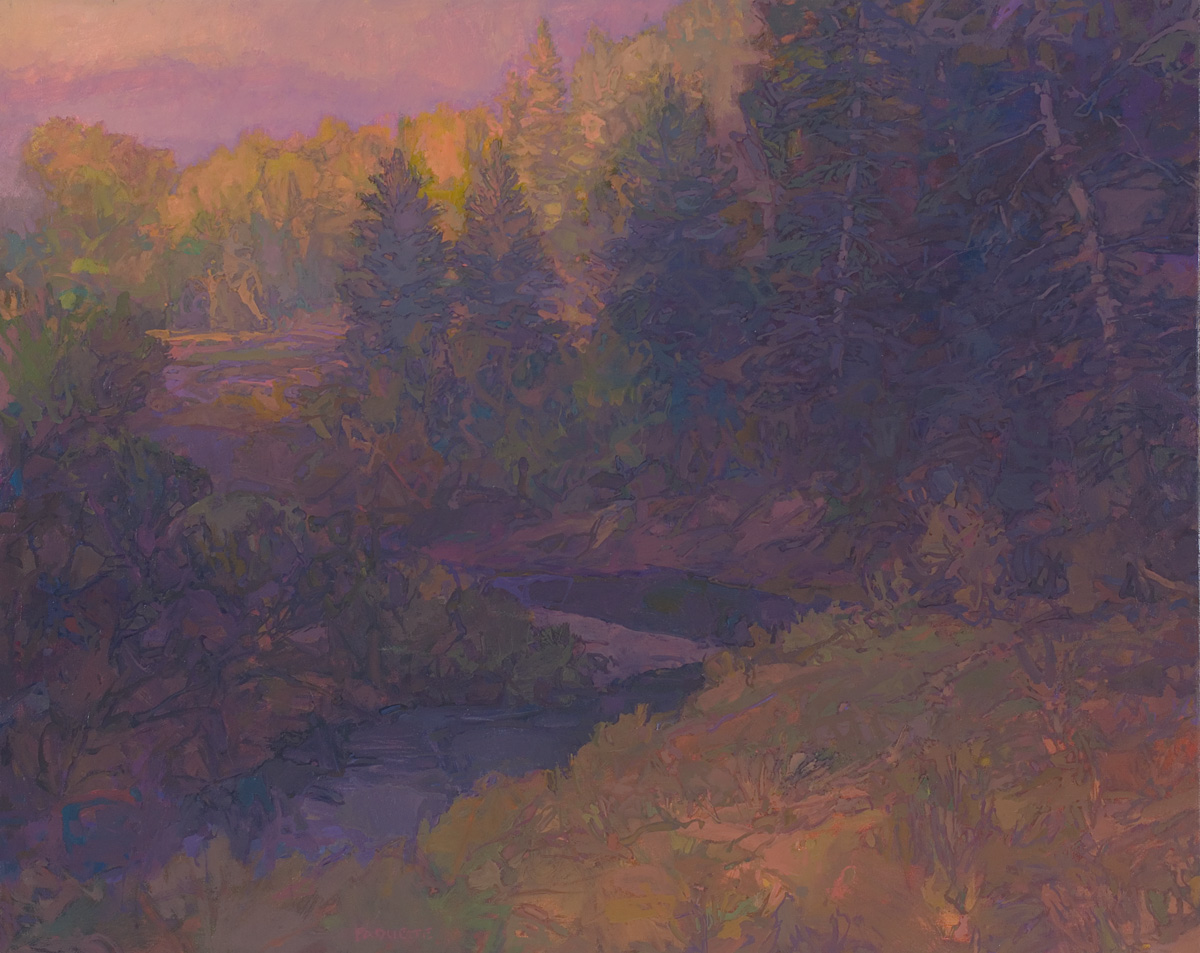 contemporary landscape oil painting of dusk stream