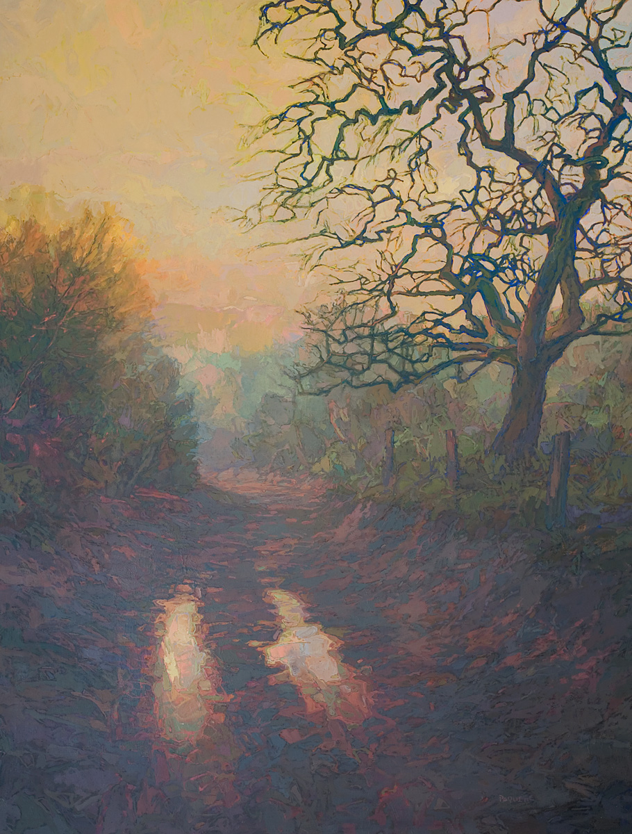 large contemporary landscape oil painting of a muddy pathway in Wales