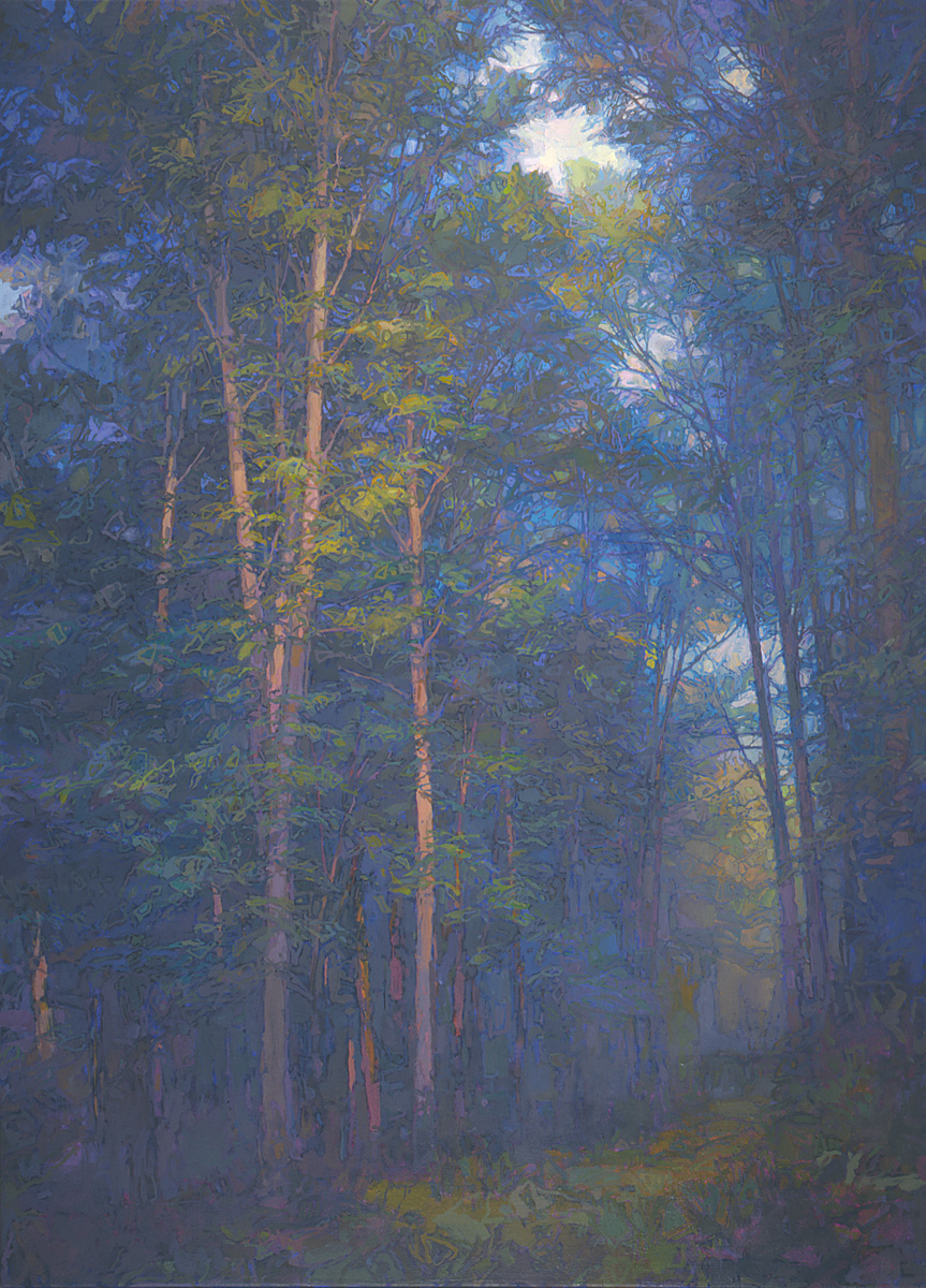 contemporary landscape oil painting of Allegheny National Forest trail