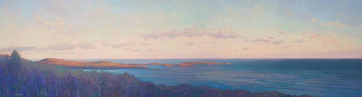 contemporary landscape oil painting of Lake Superior from Mt. Josephine