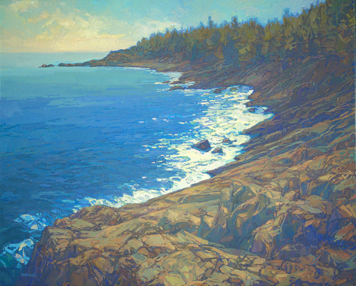 contemporary landscape oil painting of Maine rocky shoreline