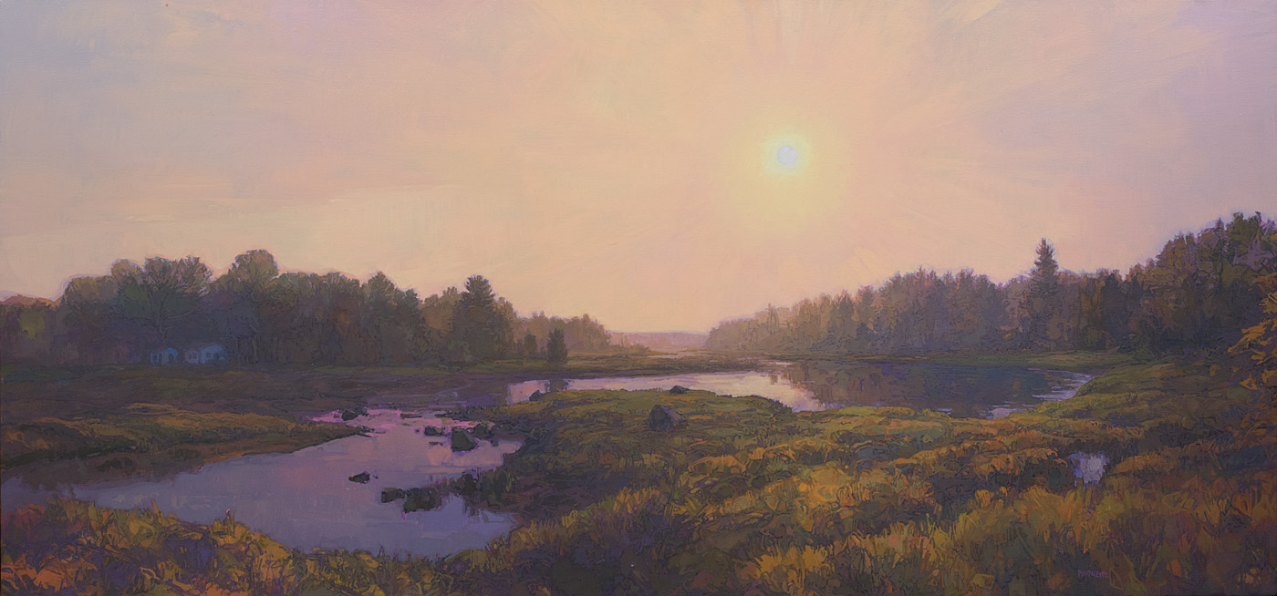 contemporary landscape oil painting of Thomas Bay, Mount Desert Island, Maine at sunset