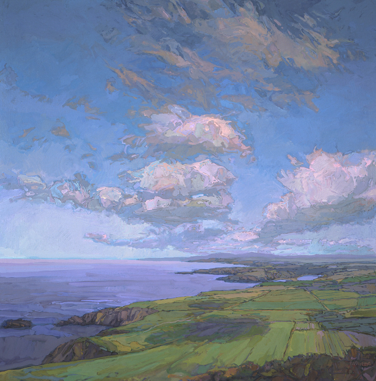 contemporary landscape oil painting in coastal Wales