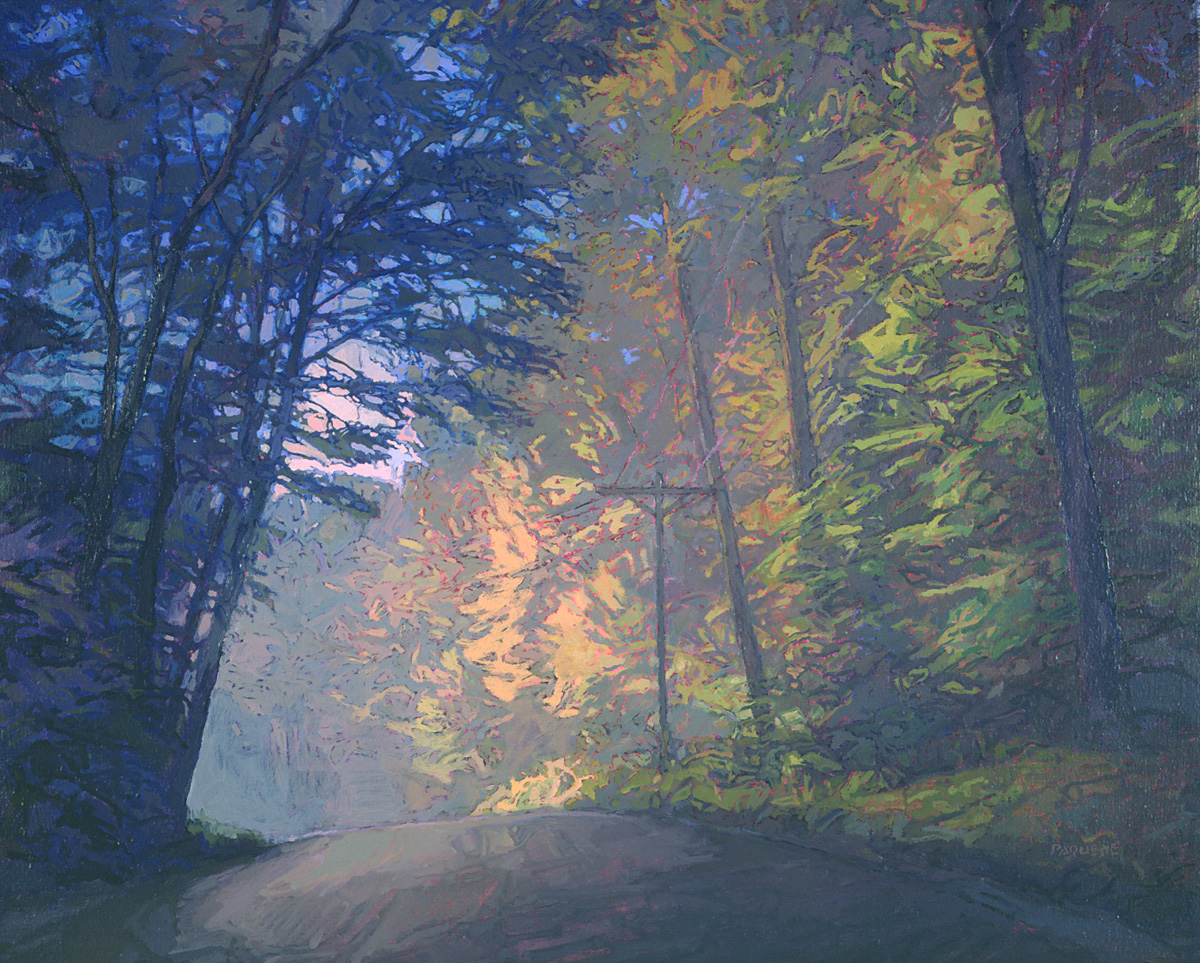 contemporary landscape oil painting of Allegheny National Forest road