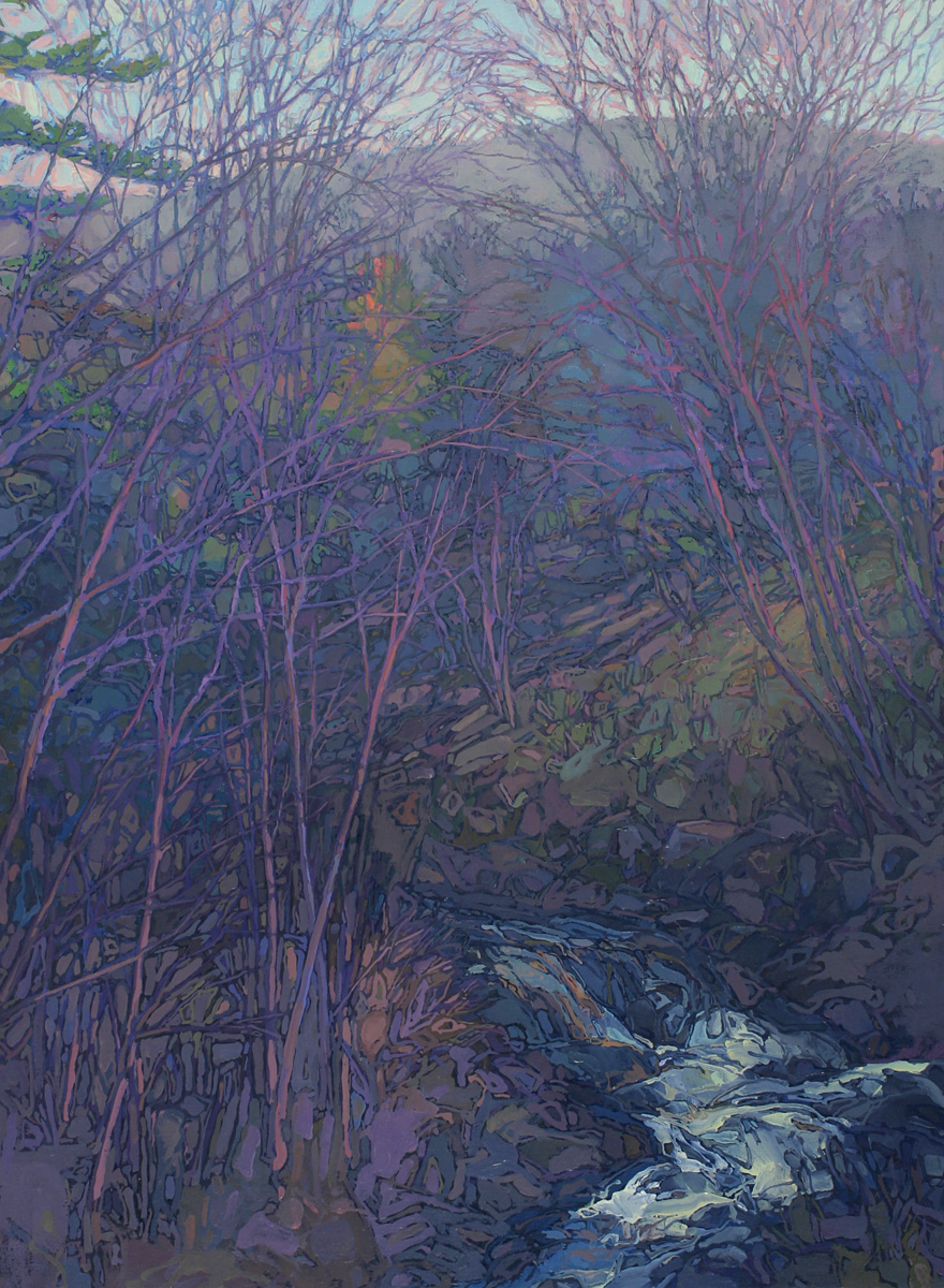 contemporary landscape oil painting of creek on Mt Desert Island, Maine