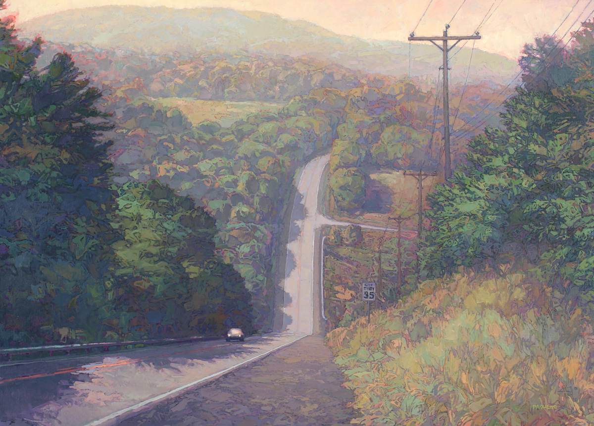 contemporary landscape oil painting of Lincoln Highway in Pennsylvania