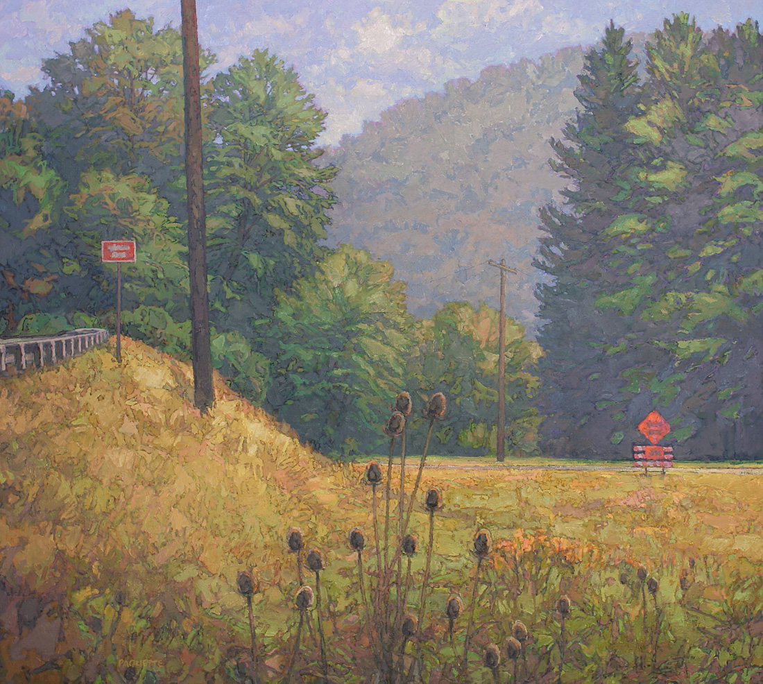 contemporary landscape oil painting of Lincoln Highway