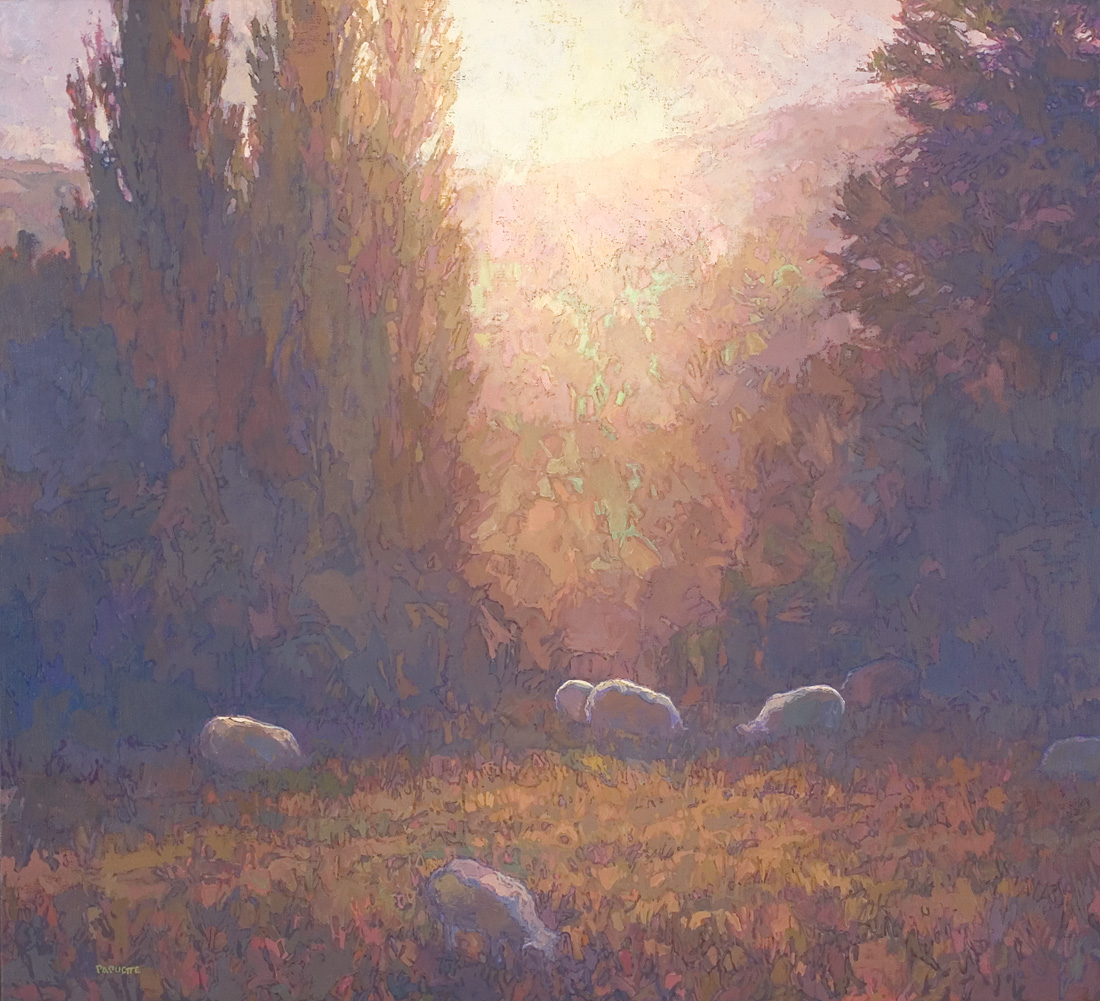 contemporary landscape oil painting of grazing sheep, Lesvos, Greece
