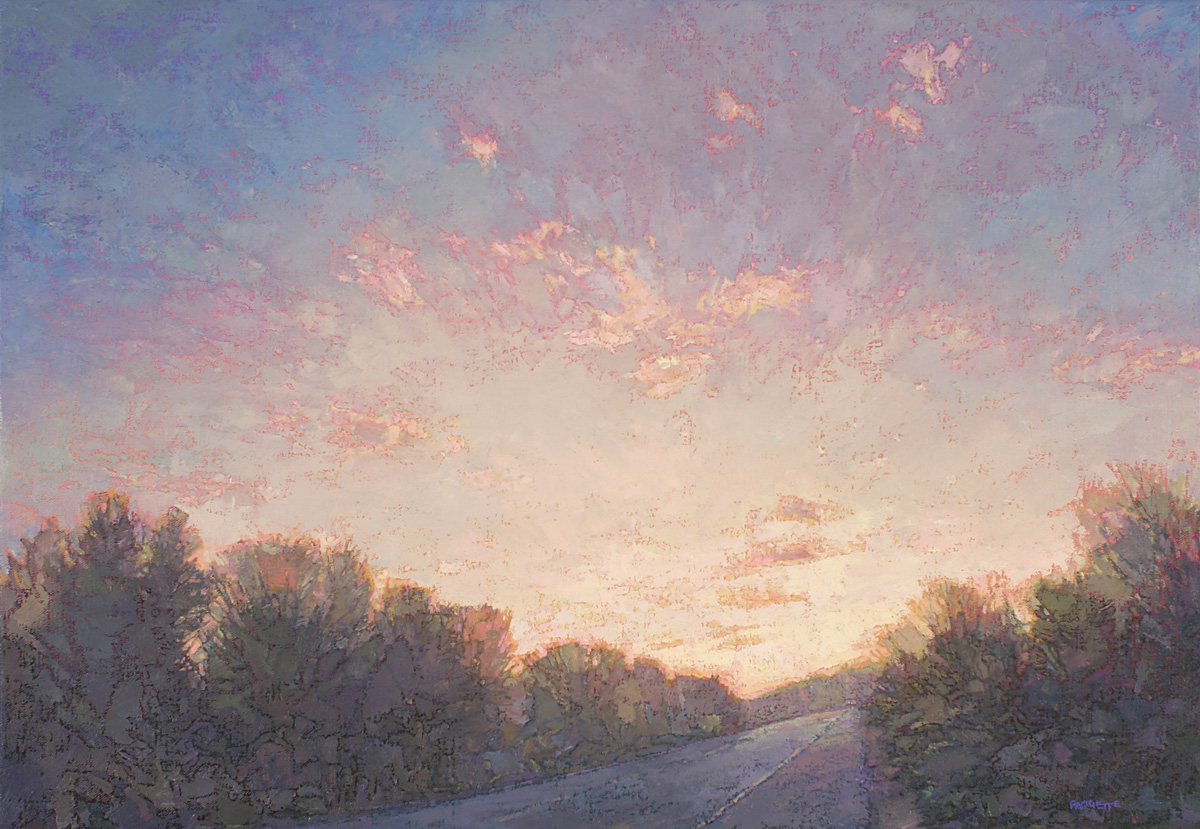 contemporary landscape oil painting of sunset road