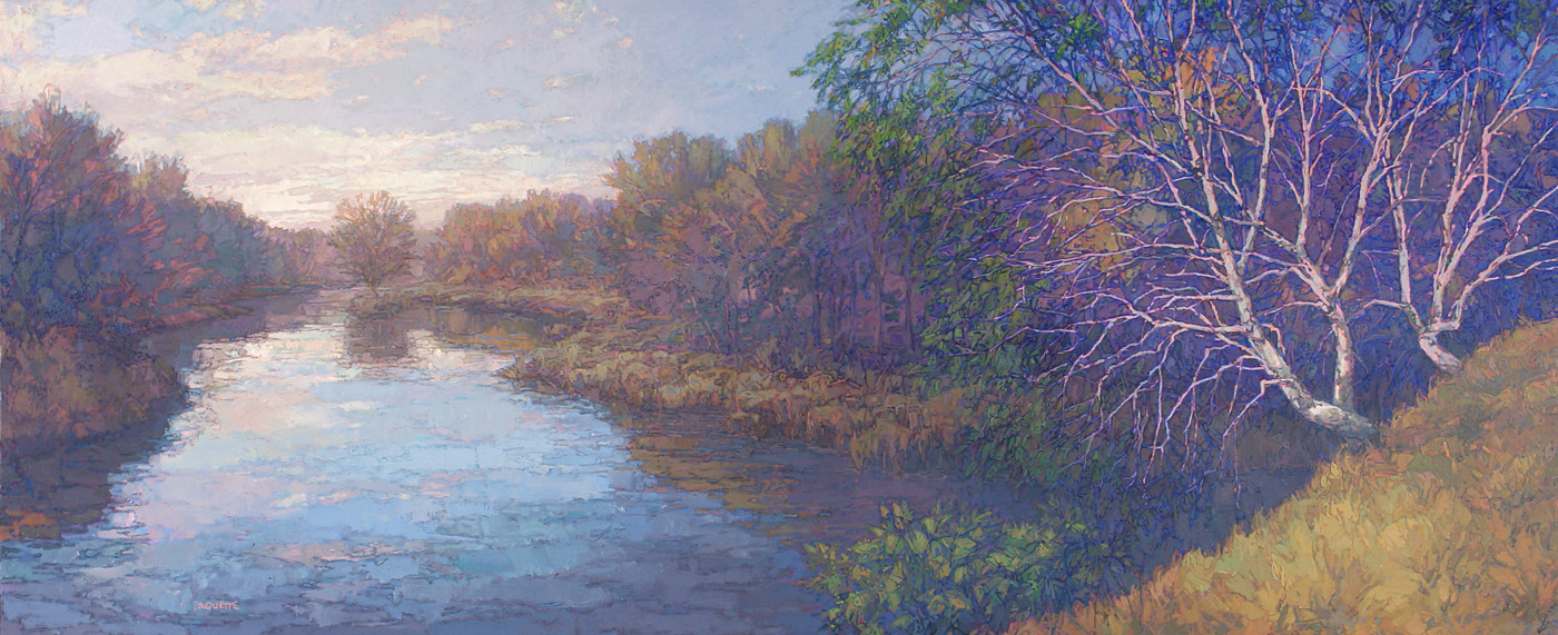 contemporary landscape oil painting of uppermost Mississippi River