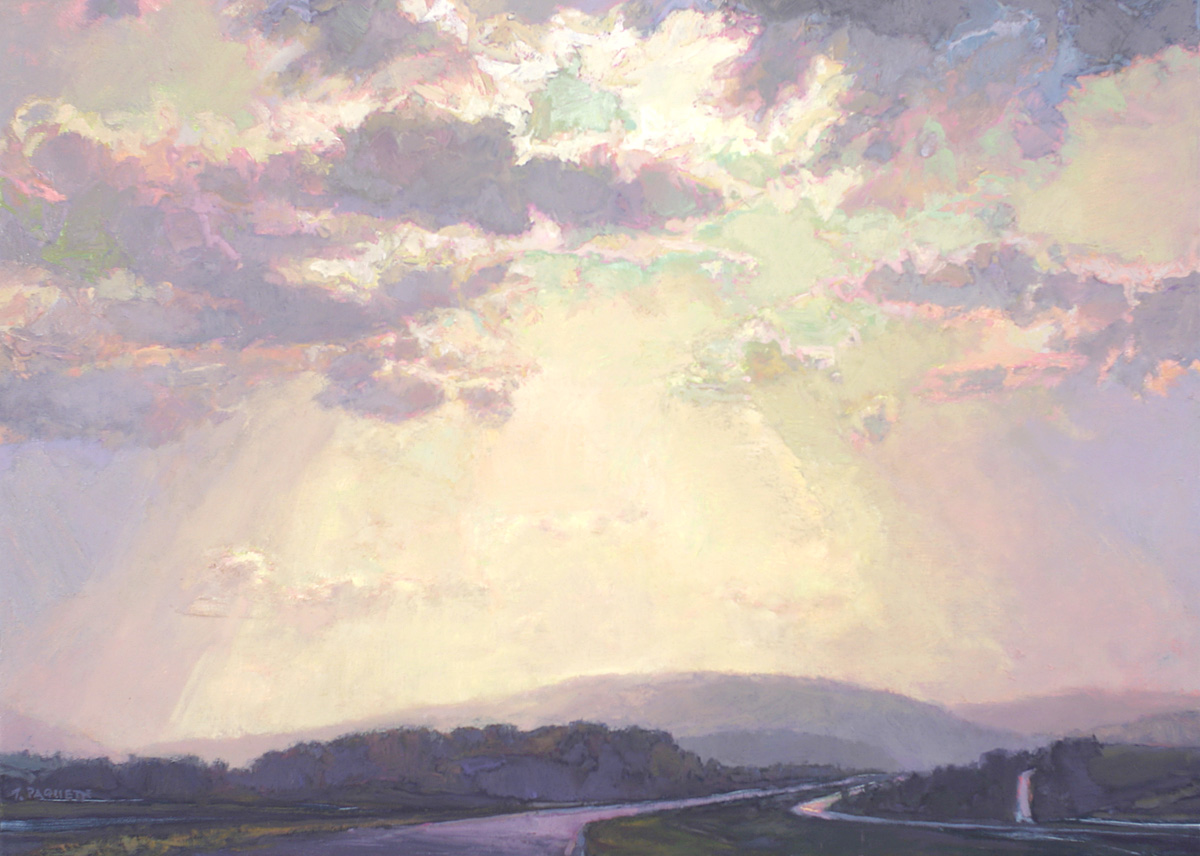contemporary landscape oil painting of highway in sun