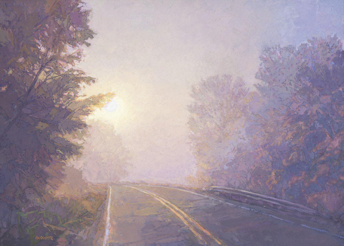 contemporary landscape oil painting of foggy morning road