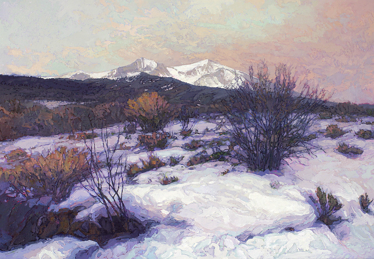 contemporary landscape oil painting of Mt Sopris, winter, Colorado