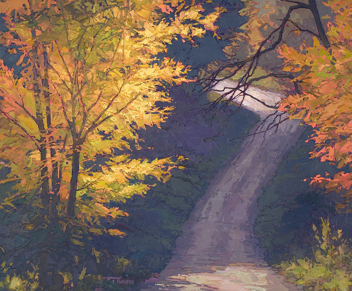 contemporary landscape oil painting of dirt road in Zoar Valley, New York