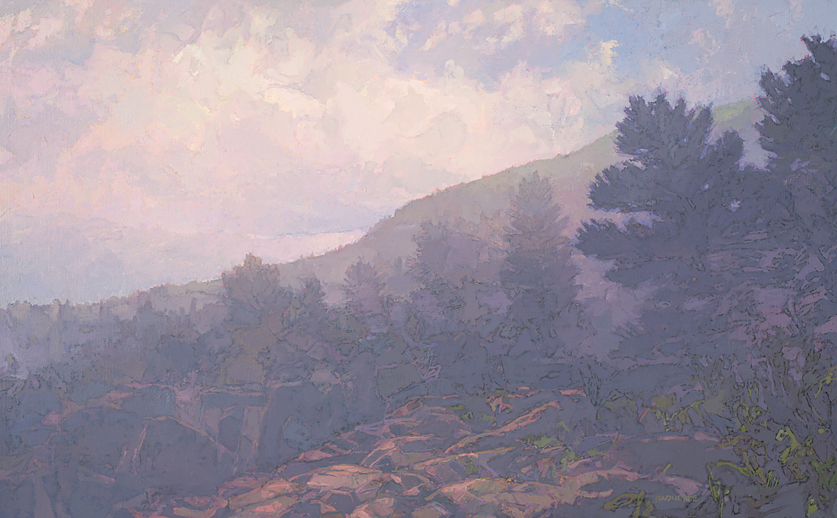 contemporary landscape oil painting of Acadia National Park shoreline in fog