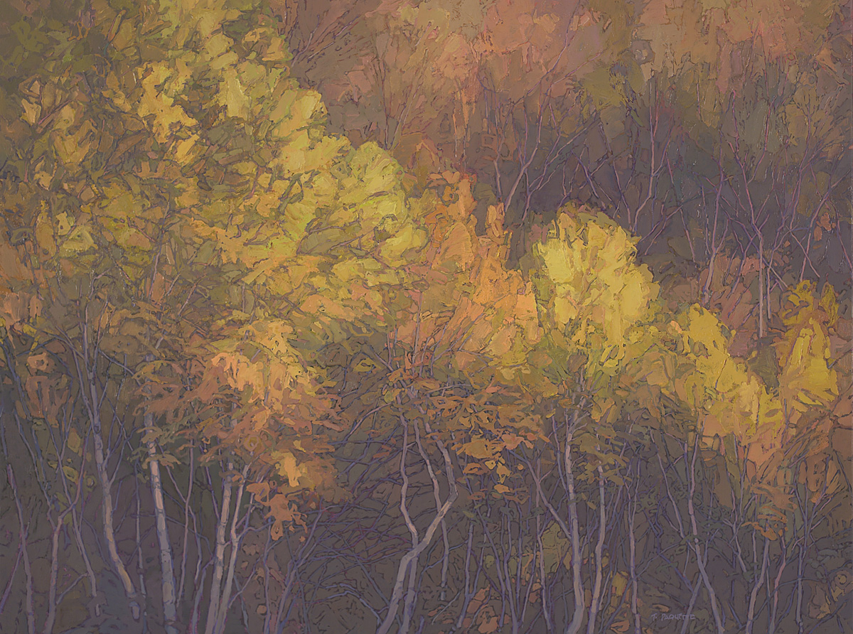 contemporary landscape oil painting of autumn trees