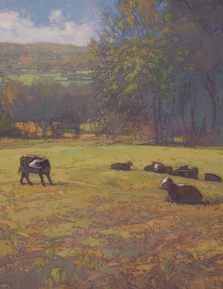 contemporary landscape oil painting of cows resting in field