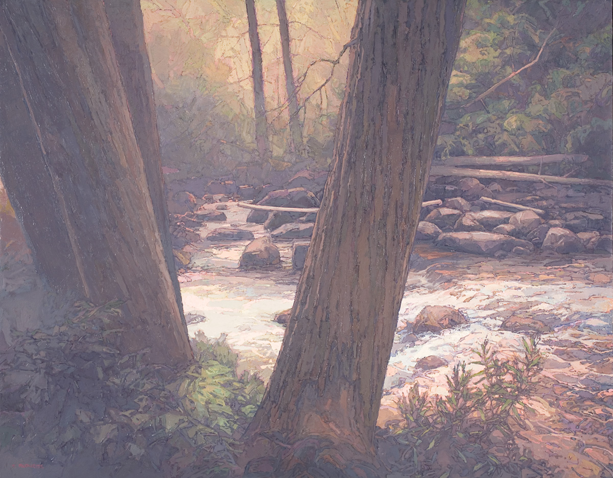 contemporary landscape oil painting of Grizzly Creek, Colorado