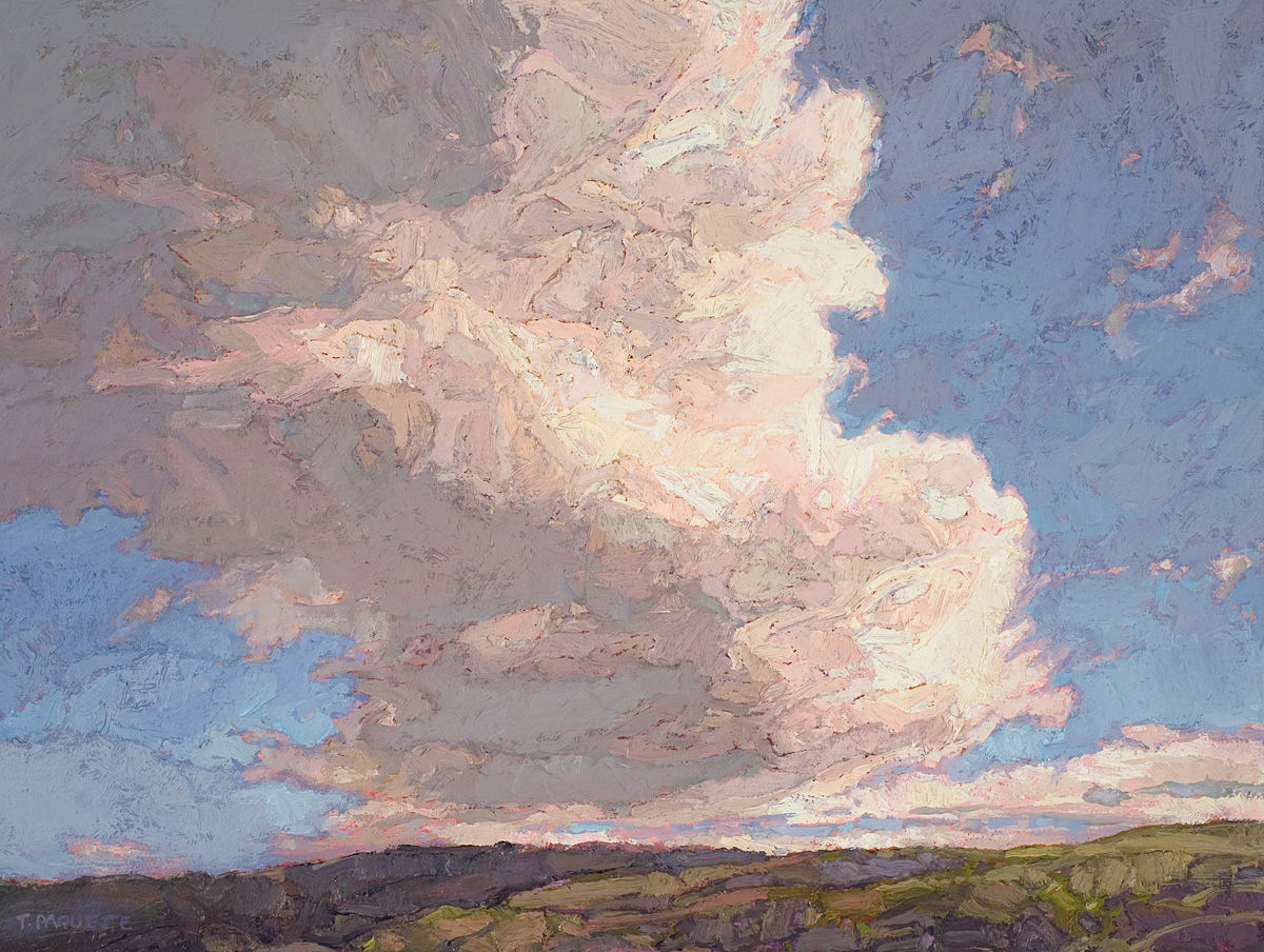 contemporary landscape oil painting of clouds in Scotland