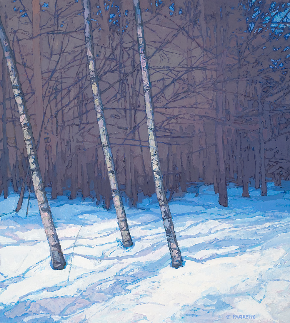woods in winter oil painting by Thomas Paquette