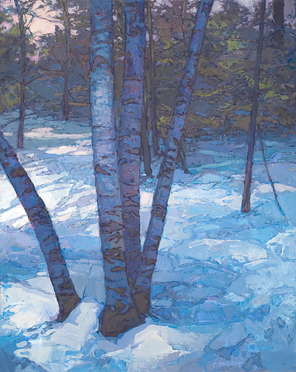 contemporary landscape oil painting of birch trees in snow