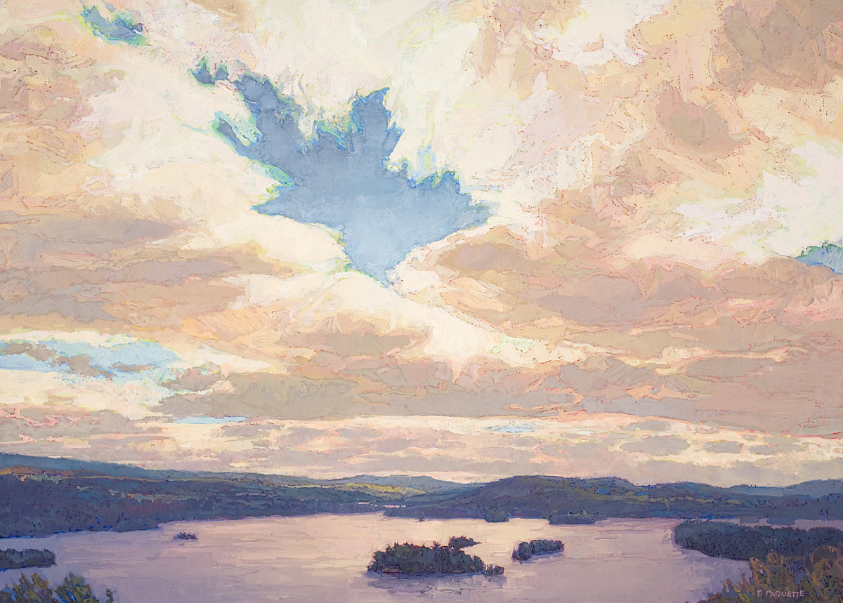 contemporary landscape oil painting of Blue Mountain Lake