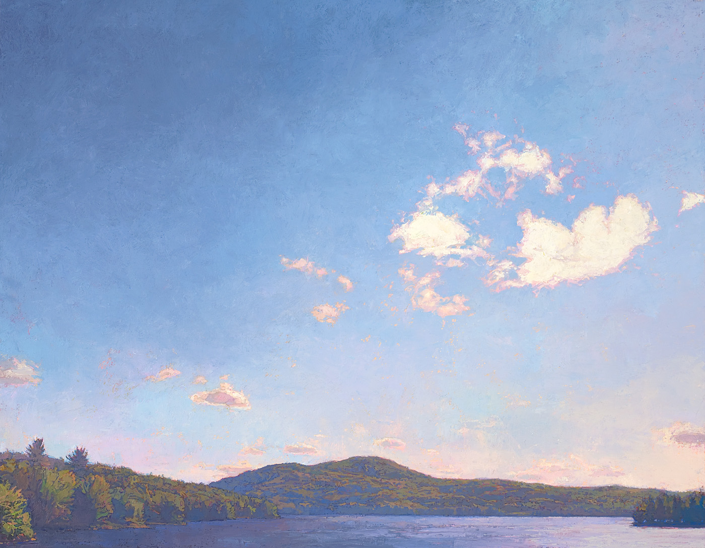 contemporary landscape oil painting of Adirondack lake