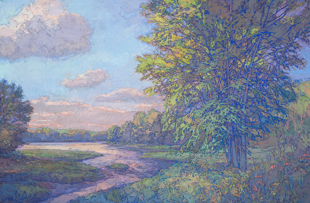 contemporary landscape oil painting of a tributary to the Penobscot River in Maine