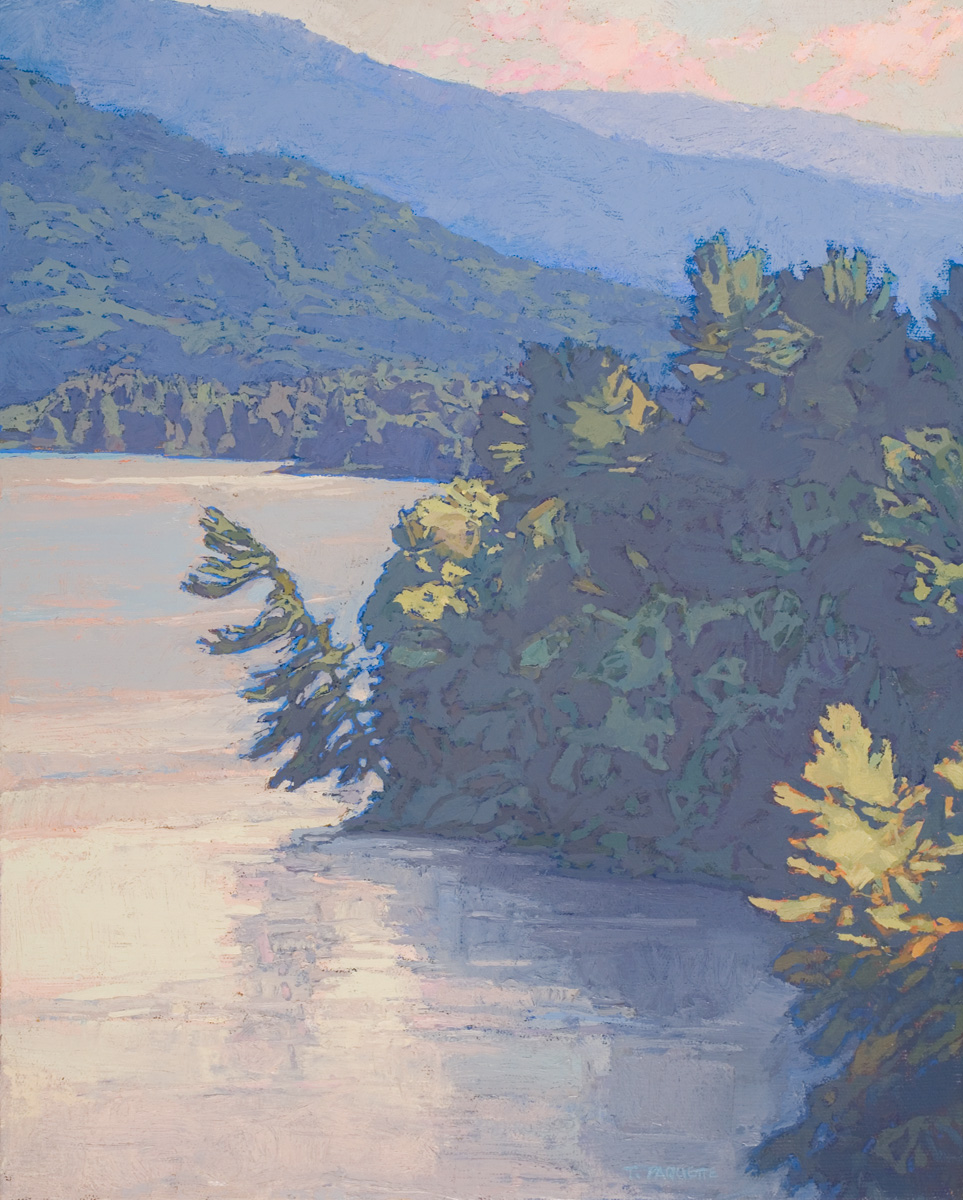 contemporary landscape oil painting of Lake George, NY