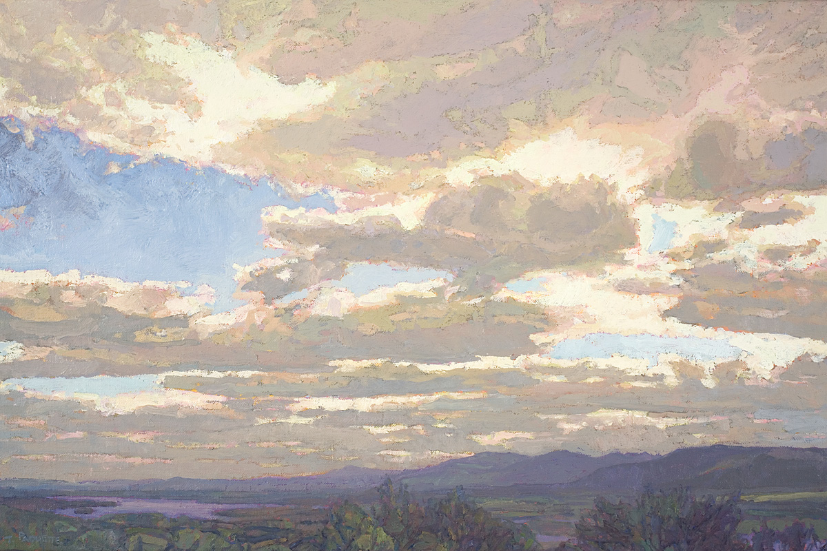 contemporary landscape oil painting of Catskill Mountains from Frederic Church's home, Olana, New York