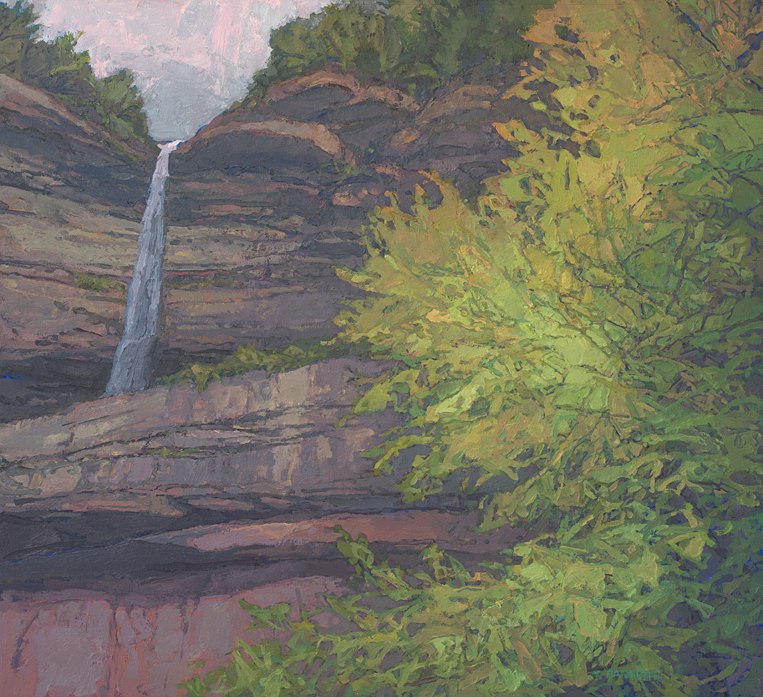 contemporary landscape oil painting of Kaaterskill Falls, New York, Catskill Mountains