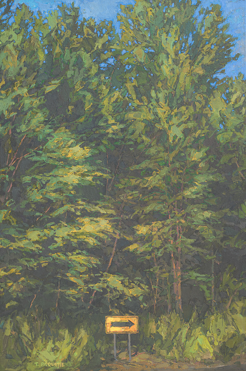 Directional sign in the woods, oil painting by Thomas Paquette