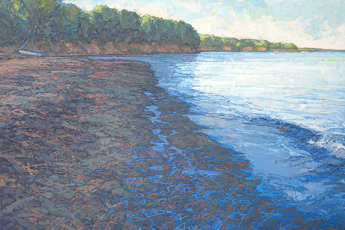contemporary landscape oil painting of Lake Erie shoreline, New York