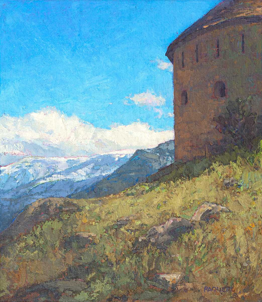 contemporary landscape oil painting of Colmars des Alpes fortress